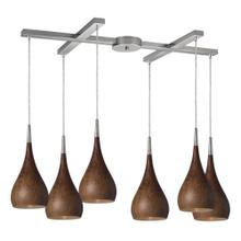 Lindsey 6-Light H-Bar Pendant Fixture in Satin Nickel with Burl Wood Shade