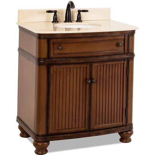 "32"" vanity with Walnut finish, simple bead board doors, and curved shape with preassembled top and bowl."