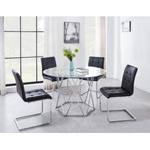 Escondido Black 5 Piece Set(Glass Top Table & 4 Side Chairs)