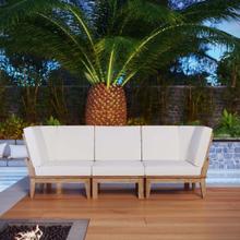 Marina 3 Piece Outdoor Patio Teak Set in Natural White