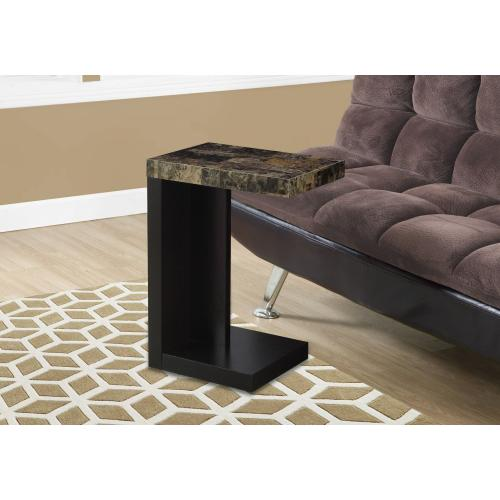 ACCENT TABLE - ESPRESSO / MARBLE-LOOK TOP