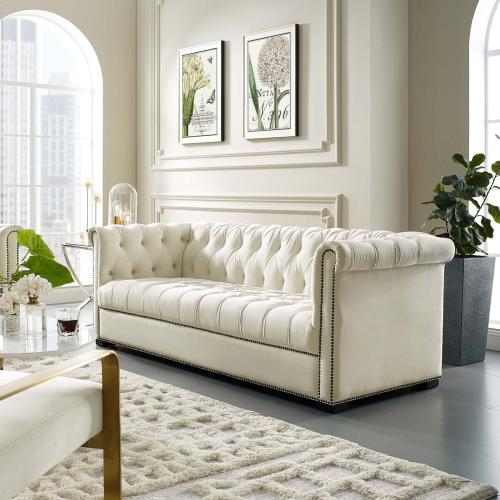 Heritage Performance Velvet Sofa in Ivory