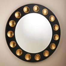 Domino Round Mirror-Black/Gold Leaf