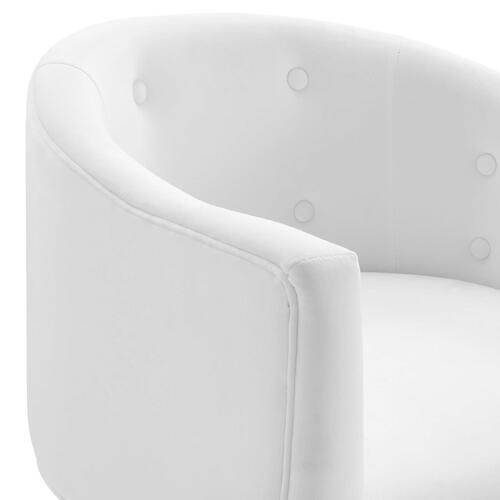 Savour Tufted Performance Velvet Accent Chairs - Set of 2 in White