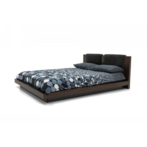 Nova Domus Fantasia - Walnut/Dark Grey Bed and Two Nightstands