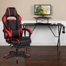 Black Gaming Desk with Cup Holder\/Headphone Hook\/Monitor Stand & Red Reclining Back\/Arms Gaming Chair with Footrest Product Image