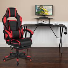 Black Gaming Desk with Cup Holder\/Headphone Hook\/Monitor Stand & Red Reclining Back\/Arms Gaming Chair with Footrest