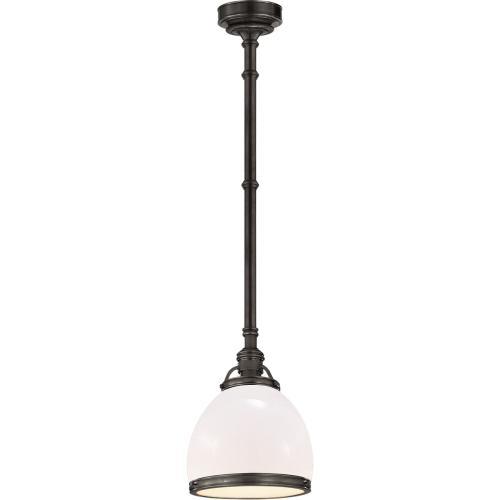 Visual Comfort CHC5132BZ-WG E. F. Chapman Sloane 1 Light 10 inch Bronze Pendant Ceiling Light in White Glass
