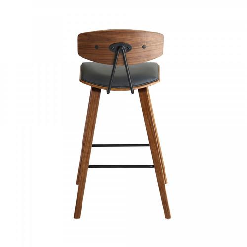 """Armen Living - Fox 28.5"""" Mid-Century Bar Height Barstool in Gray Faux Leather with Walnut Wood"""