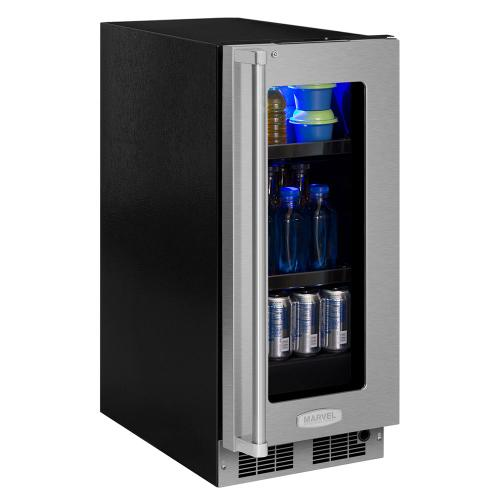 15-In Professional Built-In Beverage Center with Door Style - Stainless Steel Frame Glass, Door Swing - Right