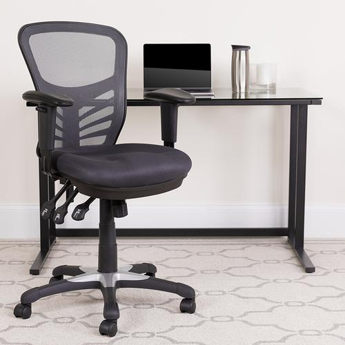 Flash Furniture - Mid-Back Dark Gray Mesh Multifunction Executive Swivel Ergonomic Office Chair with Adjustable Arms