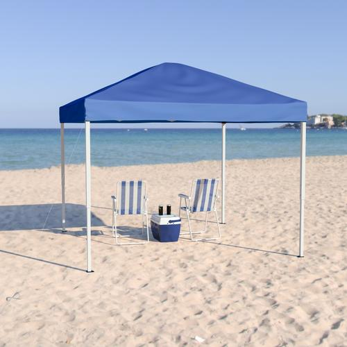 Flash Furniture - 10'x10' Blue Outdoor Pop Up Event Slanted Leg Canopy Tent with Carry Bag