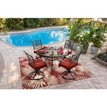 Hanover 79-Inch Square Indoor/Outdoor Backless Rug with 5000 Hours of UV Protection - Palm Leaf Red, HANRG79SQPLM-RED