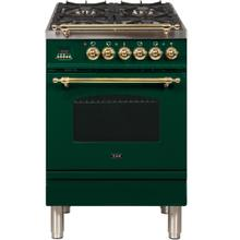 Nostalgie 24 Inch Dual Fuel Liquid Propane Freestanding Range in Emerald Green with Brass Trim