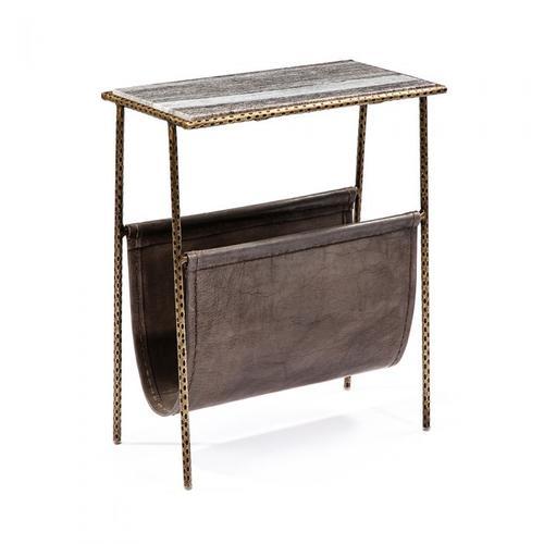 Strauss Magazine Table - Grey/ Brass