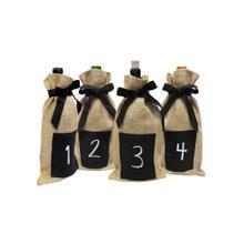Epicureanist Jute Chalkboard Wine Bag (Set of 4)