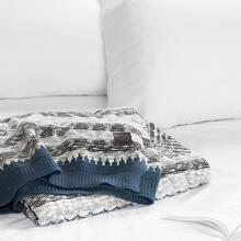 Lodge - Patterned Throw Blanket, Blue