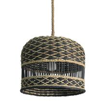 """See Details - Berlian 14"""" Round Rattan and Seagrass Pendant"""