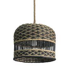 "Berlian 14"" Round Rattan/Seagrass Pendant, Natural/Black(**40"" cord, not adjustable)"