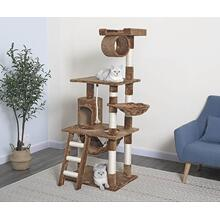 "91"" Cat Tree Condo Scratching Pet House - 9 Platform Features - Brown - Brown"