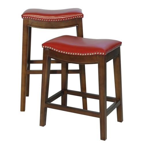 Elmo Bonded Leather Counter Stool, Red