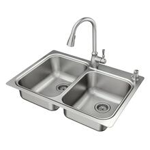 """See Details - Lainie 33""""x22"""" stainless steel 18 gauge double bowl undermount or drop in sink"""