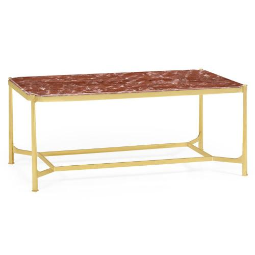 Red Brazil marble & polished solid brass rectangular coffee table