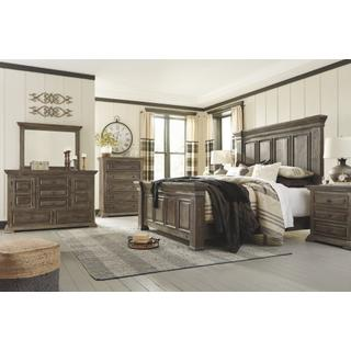 See Details - California King Panel Bed With Mirrored Dresser, Chest and 2 Nightstands