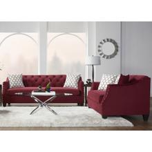 Moselle Transitional Modern Velvet Tufted Nainhead Trim Sofa and Loveseat Set, Red