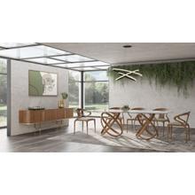 Modrest Mason Modern Glass & Walnut Dining Table
