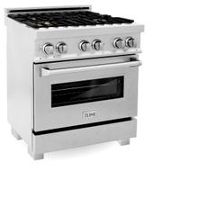 ZLINE 30 in. Professional 4.0 cu. ft. 4 Dual Fuel Range in DuraSnow® Stainless Steel with Brass Burners (RAS-SN-BR-30)