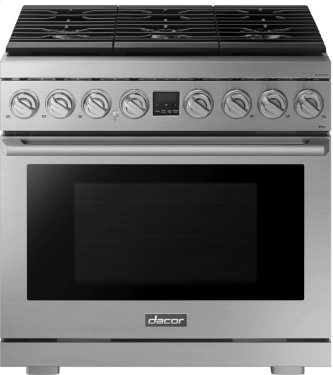 """Transitional 36"""" Gas Range, Silver Stainless Steel, Natural Gas/Liquid Propane"""