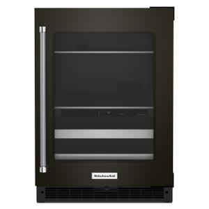 "Kitchenaid24"" Beverage Center with Glass Door and Metal-Front Racks - Black Stainless"