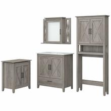 View Product - 32W Bathroom Vanity Sink with Mirror, Over Toilet Storage and Hamper, Driftwood Gray