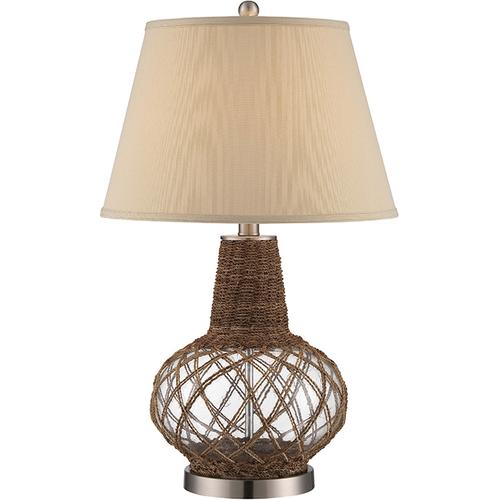Table Lamp, Glass & Rope Body/fabric Shade, E27 Cfl 23w