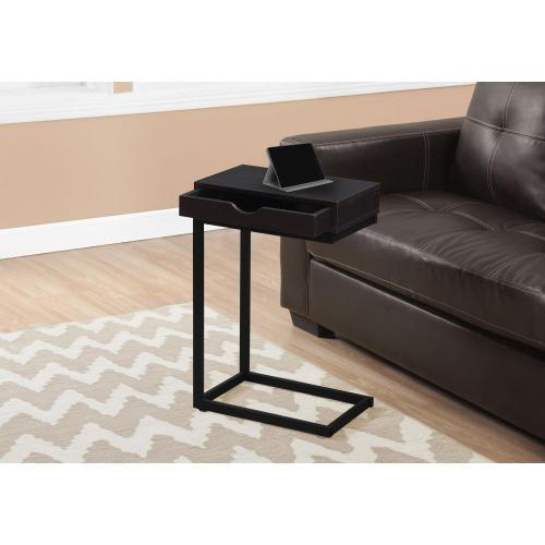 Gallery - ACCENT TABLE - ESPRESSO / BLACK METAL WITH A DRAWER