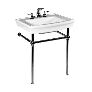 White JULIAN Console Lavatory with Polished Nickel Metal Finish Product Image