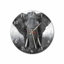 Black & White Elephant Round Acrylic Wall Clock