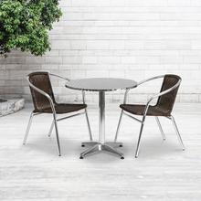 See Details - 27.5'' Round Aluminum Indoor-Outdoor Table Set with 2 Dark Brown Rattan Chairs