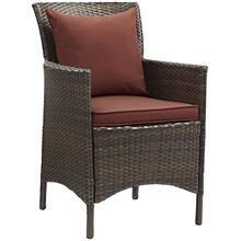 Conduit Outdoor Patio Wicker Rattan Dining Armchair in Brown Currant