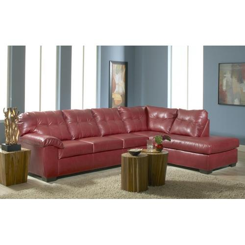 Red Bonded Leather Right Facing Chaise