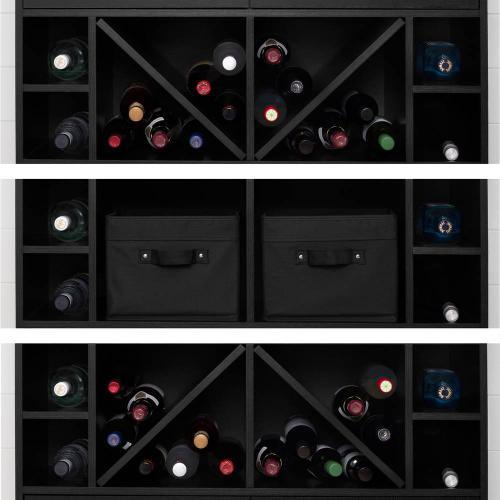 Bar Cabinet and Bottle Storage - Black Oak