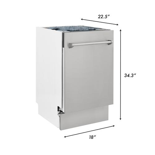 """Zline Kitchen and Bath - 18"""" Compact Top Control Dishwasher in Custom Panel Ready with Stainless Steel Tub (DWV-18) [Color: DuraSnow Stainless Steel]"""