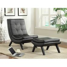 Tustin Lounge Chair and Ottoman Set With Black Faux Leather Fabric & Black Legs