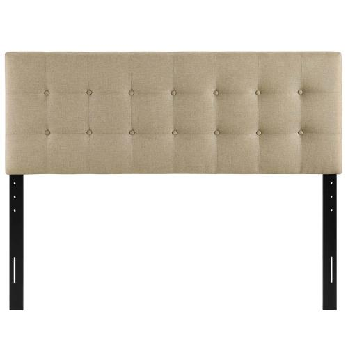 Emily Queen Upholstered Fabric Headboard in Beige