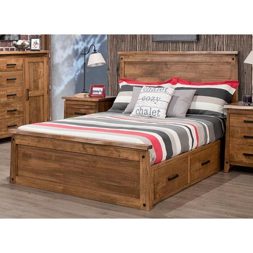 Handstone - Pemberton Single 2 Drawer Storage Platform Bed With 22'' Low Footboard (Drawers on Left)