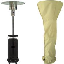 See Details - Hanover 7-Ft. 48,000 BTU Steel Umbrella Propane Patio Heater in Black with Weather-Protective Cover, HAN004BLK-CV