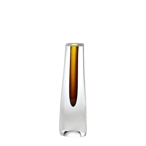 Hexagon Cut Glass Vase-Amber