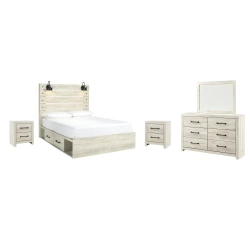 Queen Panel Bed With 2 Storage Drawers With Mirrored Dresser and 2 Nightstands