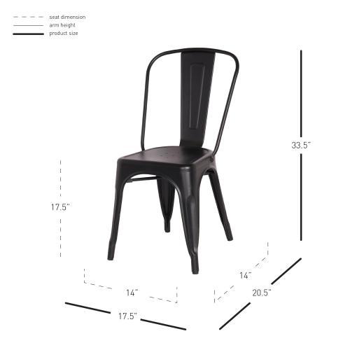 Metropolis Metal Side Chair, Frosted Black